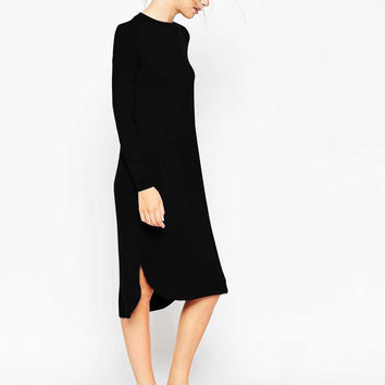 Casual Long Sleeve Side Slit Midi Dress