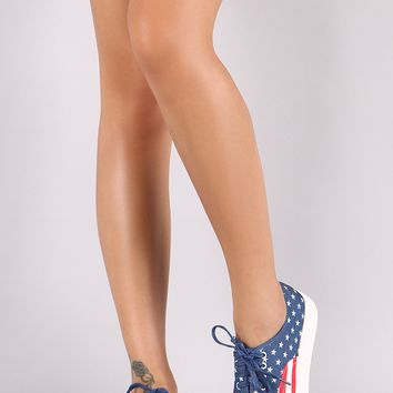 American Flag Print Canvas Lace-Up Sneaker