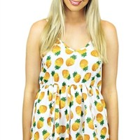 Sleeveless Pineapple Print Playsuit w/PomPom Hem #romper #playsuit #jumpsuit #feminine #spring #aussiestyle #chic #flirty #ineapple #prints