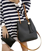2016 Fashion 2pcs Women BagTassels Single Shoulder Bucket Bag With Clutch Bag Women's Shoulder  Bags bolsa feminina para mujer