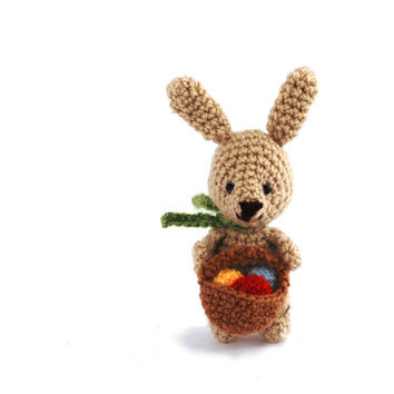 miniature bunny, tiny bunny with Easter eggs, crocheted rabbit, amigurumi tiny bunny, little bunny doll, home decor, Easter gift, amigurumi