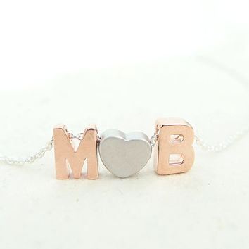 Letters & Heart Initials Necklace (Silver) - personalized necklace, rose gold and silver, initials, couple necklace