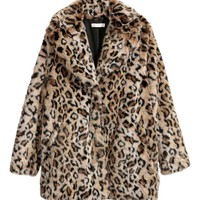Faux fur jacket - Leopard print - Ladies | H&M GB