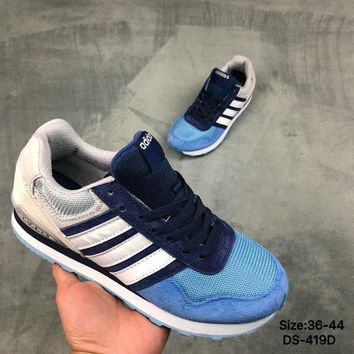 Adidas NEO 10 K Men and Women Blue/Grey Fashion Outdoor Sports Running Shoes
