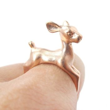 Baby Deer Doe Shaped Sleek Animal Wrap Around Ring in Rose Gold | US Size 5 to 8