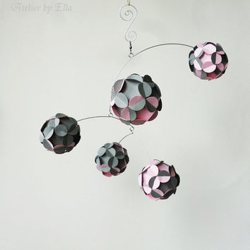 Hanging Mobile , Kinetic , Gray and Baby Pink , Nursery Room Decor , Home Decoration , Mobiles for Girls