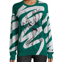 Evil Tree Long-Sleeve Sweater, Green/White, Size: