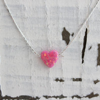 Heart pink opal necklace, dainty sterling silver 925 chain, baby pink opal charm pendant, Exclusive opal color! Summer jewelry