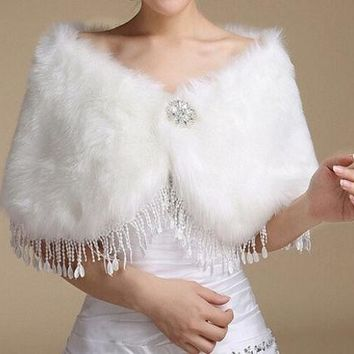 CREYUG3 Wedding dress Wrap Ivory Fake fur shawl Bride stole Bridesmaid Cloak Boleros Women's Shrug Winter coat Jacket Cape tassels Warm = 1929823876