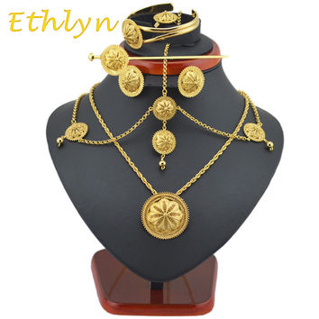 Ethlyn Best Quailty Ethiopian jewelry sets Gold Color hair jewelry 6pcs sets & African jewelry for Ethiopia best Women gift