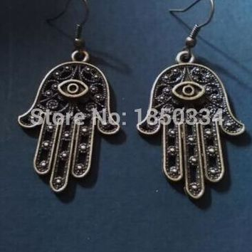 50Pair Ancient Silver evil eye Hamsa Fatima hand Charms Dangle Earrings For Women With Gift Box DIY Findings Jewelry  Z137