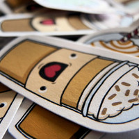 Cute coffee stickers with faces - pack of 12