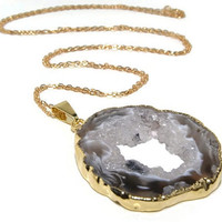 Agate Geode Necklace, Raw Gemstone Jewelry, Handmade, Druzy Slice Pendant