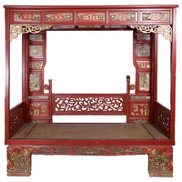Antique Chinese Opium Bed or Wedding Daybed with Carved Wood Canopy, circa 1850