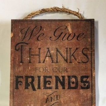"DALLAS COWBOYS We Give Thanks for Our Friends & Football WOOD SIGN 6"" x 12"""