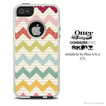 The Vintage Summer Chevron Pattern Skin For The iPhone 4-4s or 5-5s Otterbox Commuter Case