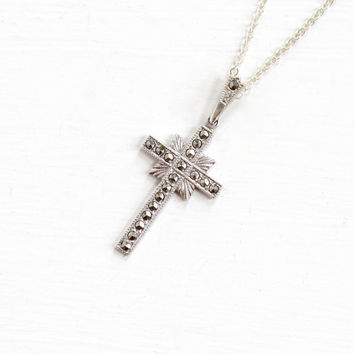 Vintage Sterling Silver Marcasite Cross Necklace - Vintage Mid Century Hallmarked Ann Gale Crucifix Catholic Religious Pendant Jewelry
