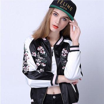 Flower Phoenix Bird printed Bomber Jacket Coat