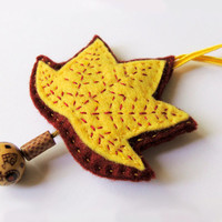 Leaf felt ornament, wall decor yellow embroidered leaf with wooden beads, autumn
