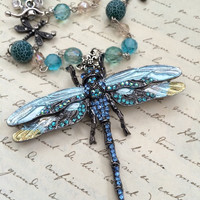 Autumn Dragonfly Crystal Brooch Necklace