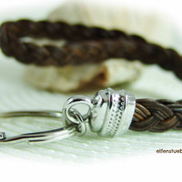 key chain  leather brown silver - key holder - lanyard