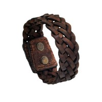 "Brown Braided Wide PU Leather Double Snap 7"" Bracelet Wristband Unique Cuff: Jewelry: Amazon.com"