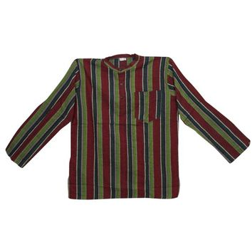 Bohemian Gypsy Chic Men's Cotton Shirt Short Kurta Long Sleeves Maroon Green Trendy Tunic Traditional Wear XL