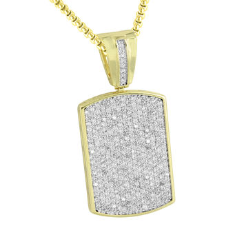 Dog Tag Pendant Mens 14K Yellow Gold Finish With Chain