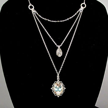 Layered Aromatherapy Necklace - Beautiful Aromatherapy Locket and Blue Butterfly Pendant