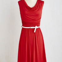 Americana Long Sleeveless A-line Bayside Vacay Dress in Red by ModCloth