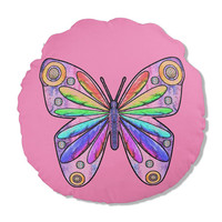 Pink Round Pillow with colorful Butterfly, 16 inch pillow with insert, yellow and lavender color options