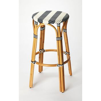Butler Tobias Blue & White Rattan Bar Stool