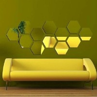Modern  Creative  Silver  Mirror  Geometric  Hexagon
