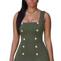 Olive Gold Buttons Romper