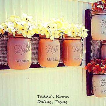 Mason Jar Decor , Set of 2 , Pallet Wood , Rustic Cottage , Storage , Rustic, Wall Vase , Bathroom Storage , Country Decor , Wedding Decor