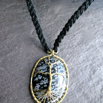 Viking Tree of Life Necklace, Snowflake Obsidian Wire Wrap Brass Pendant on Braided Black Hemp, Norse Yggdrasil Kabbalah Healing Tree, UK