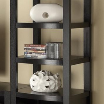 Coaster 800355 4 tiered espresso finish wood curved front side media tower shelf unit