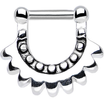 "14 Gauge 1/4"" Stainless Steel Aztec Moon Septum Clicker"