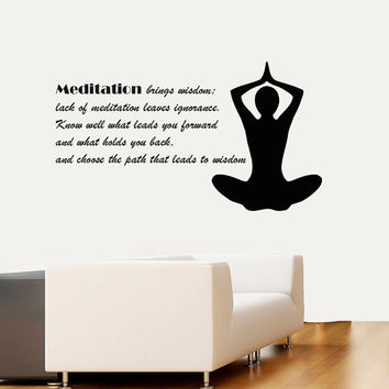 Wall Decal Vinyl Sticker Decals Art Home Decor Design Murals Buddha Decals Yoga Quotes Decal Yoga Studio Decals Buddha Quotes Decals OP34