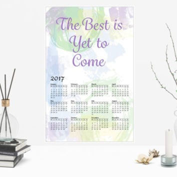 The Best is Yet to Come 2017 Calendar, Green and Purple