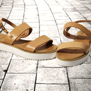 Greek Tan leather sandals, women sandals, chunky sole sandals, authentic handmade sandals, women shoes, stylish white solid block sole