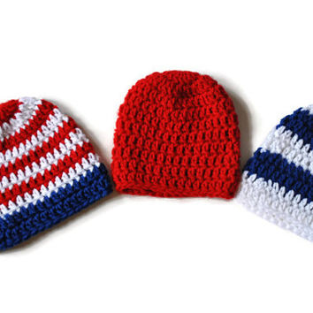 Crochet Baby Hats, Patriotic Infant Set, Set of 3 Hats, Fourth of July Hats, Triplet Baby Beanies, Coming Home Hats, Baby Shower Gift