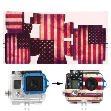 OOTDTY New Cool Camera Accessories American Flag Paster Adhesive Bag Skin Sticker Mount