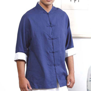 Blue Tai Chi Shirt with White Overlap Cuffs