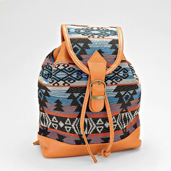 Boho Aztec Baby Backpack, Tribal Chic Buckle Leather Trim Bag - Seafoam
