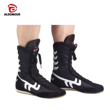 ALDOMOUR Authentic Wrestling Shoes For Men Training Shoes Tendon at the end Leather Sneakers Professional Boxing Shoes