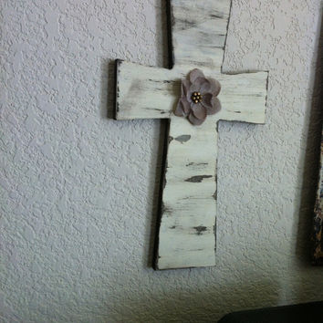 Country Distressed Cross with Burlap Flower Wall Hanging