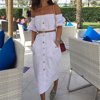 Women Fashion Boat Neck Buttons Wrap Chest Strapless Maxi Dress