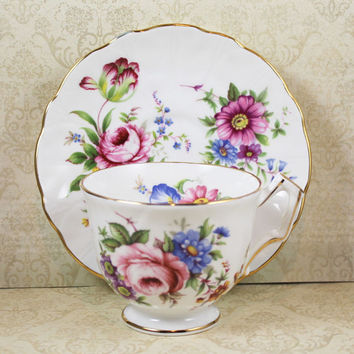 Vintage 1960s Aynsley Rose Floral English Bone China Tea Cup and Saucer