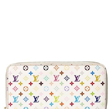 Louis Vuitton Womens White Monogram Multicolore Canvas Zippy Long Wallet